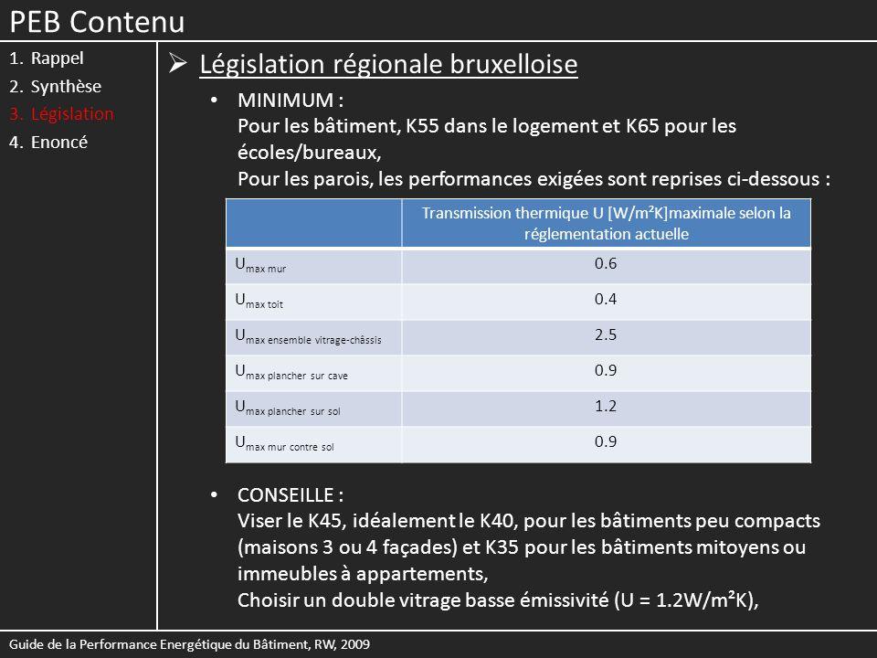 PEB Contenu 1.Rappel 2.Synthèse 3.Législation 4.Enoncé Législation régionale bruxelloise MINIMUM : Pour les bâtiment, K55 dans le logement et K65 pour