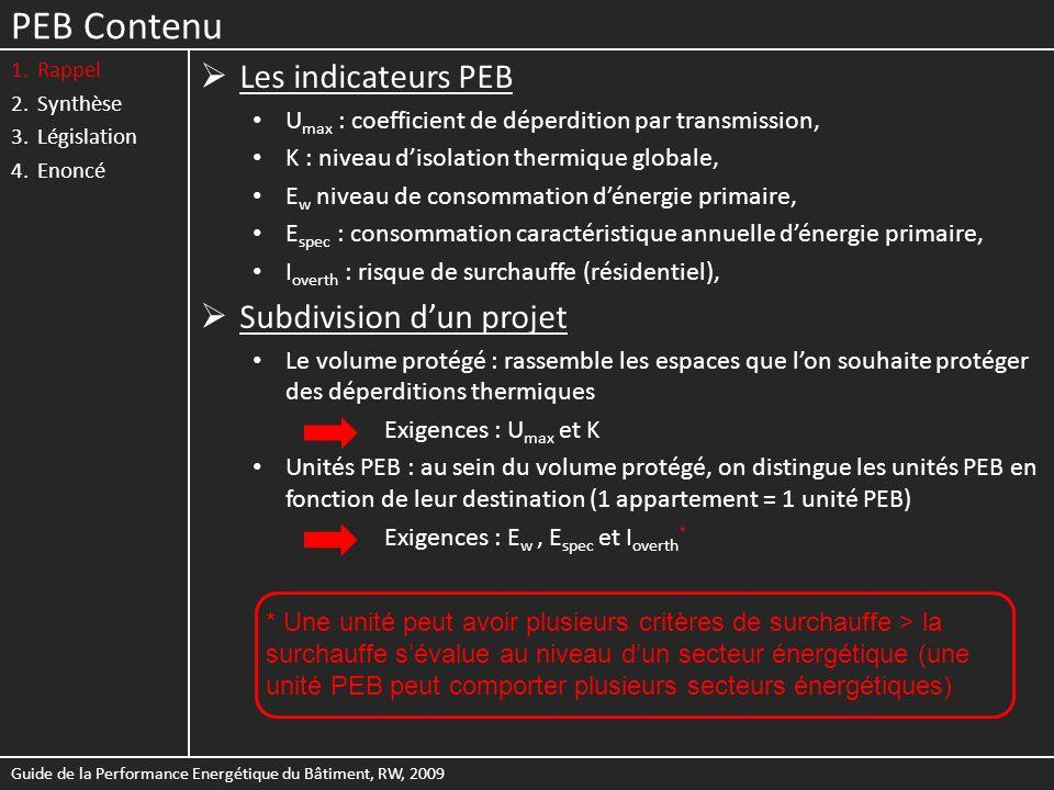 PEB Contenu 1.Rappel 2.Synthèse 3.Législation 4.Enoncé Les indicateurs PEB U max : coefficient de déperdition par transmission, K : niveau disolation