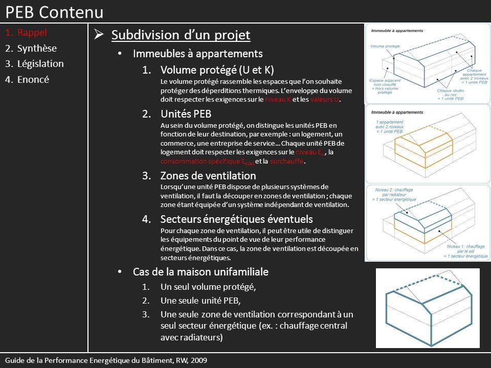 PEB Contenu 1.Rappel 2.Synthèse 3.Législation 4.Enoncé Propagation de la chaleur à travers une paroi Guide de la Performance Energétique du Bâtiment, RW, 2009 Composition de la paroiDonnées nécessaires R Résistances thermiques dune couche - Matériau homogène : R = d / λ - Matériau non homogène Epaisseur du matériau d [m] Valeur λ déclarée ou par défaut du matériau [W/mK] Valeur R déclarée ou par défaut du matériau R a Résistance thermique dune lame dair éventuelle Type de lame dair (non, peu ou fortement ventilée), son épaisseur et la direction du flux de chaleur R si et R se Résistances thermiques déchange superficiel intérieure et extérieure Type de paroi (mur, toiture, plancher, …) Inclinaison Environnement