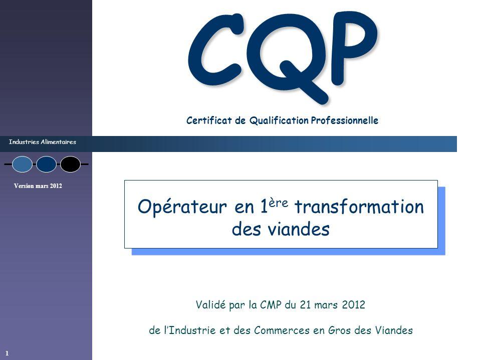 Industries Alimentaires Version mars 2012 1 CQP CQP Certificat de Qualification Professionnelle Validé par la CMP du 21 mars 2012 de lIndustrie et des