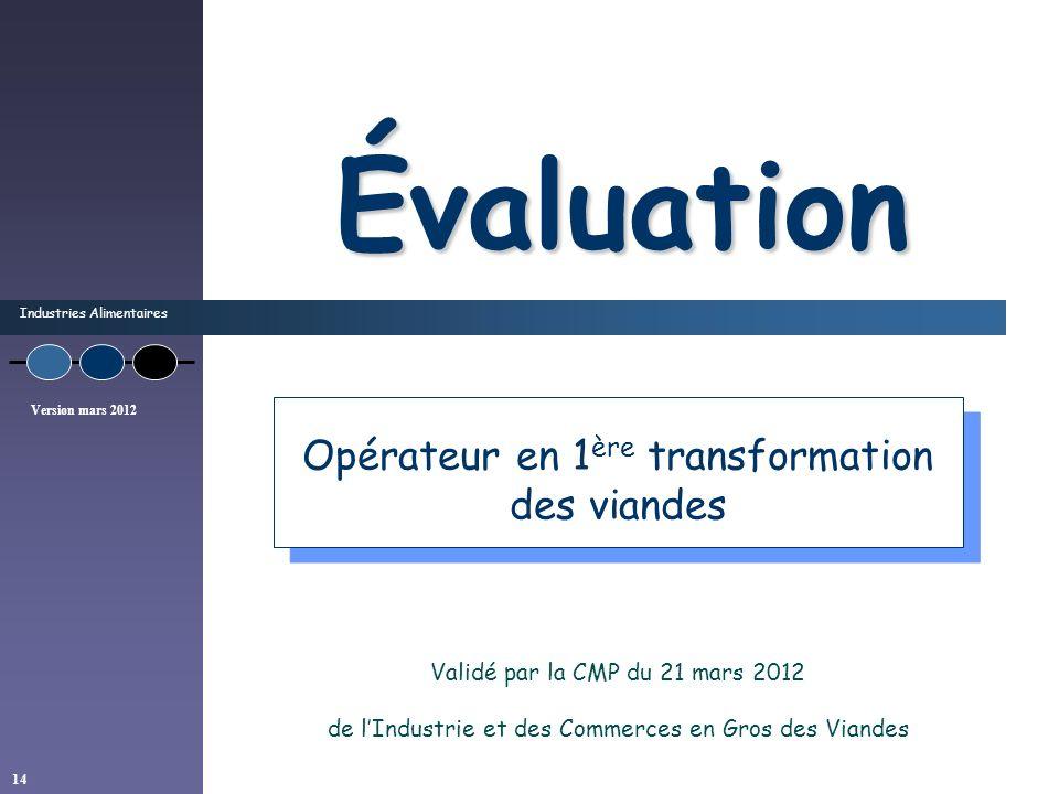 Industries Alimentaires Version mars 2012 14 Évaluation Validé par la CMP du 21 mars 2012 de lIndustrie et des Commerces en Gros des Viandes Opérateur
