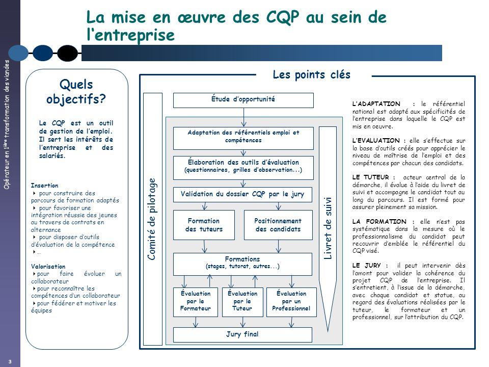 Opérateur en 1 ière transformation des viandes 3 La mise en œuvre des CQP au sein de lentreprise Les points clés LADAPTATION : le référentiel national