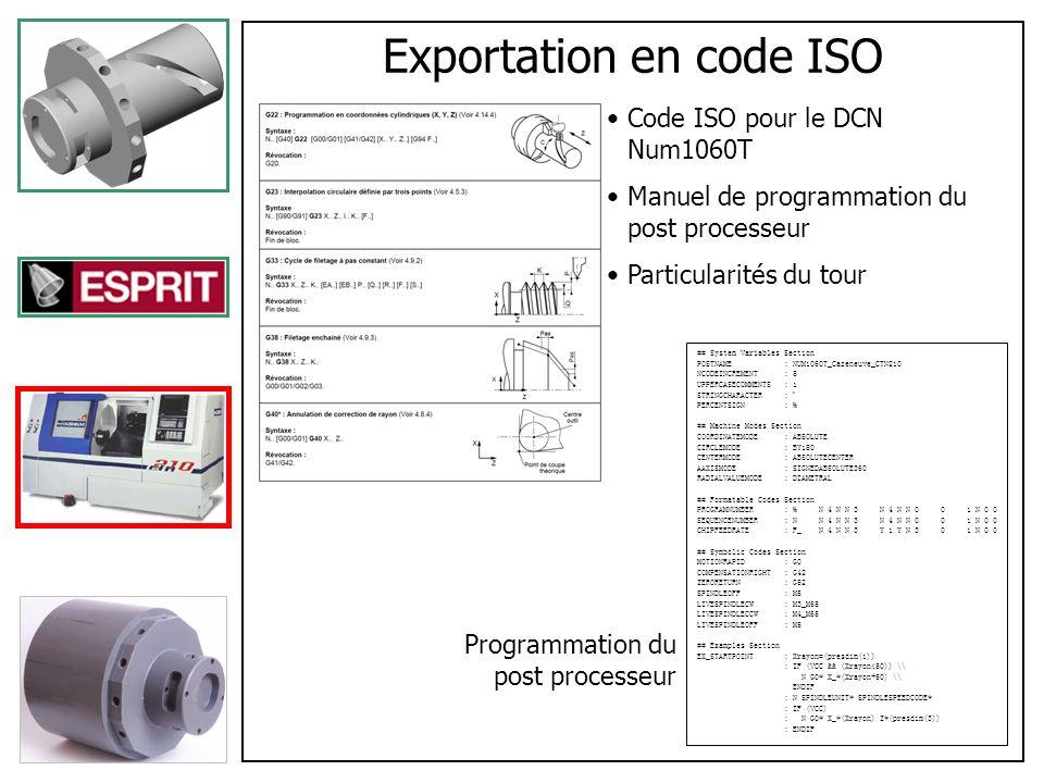 Fabrication Transferts des programmes générés sur le tour Tests et corrections des erreurs Fabrication de la phase n°1 de la pièce