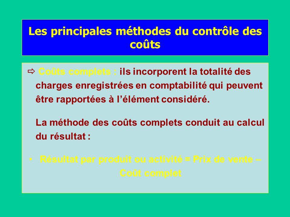 Les principales méthodes du contrôle des coûts Coûts complets : ils incorporent la totalité des charges enregistrées en comptabilité qui peuvent être