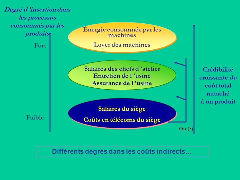 Faible Degré d insertion dans les processus consommés par les produits Énergie consommée par les machines Loyer des machines Salaires des chefs d atel
