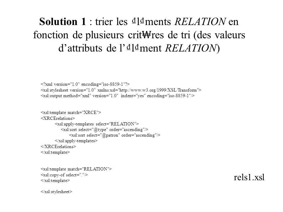 Solution 1 : trier les lments RELATION en fonction de plusieurs crit res de tri (des valeurs dattributs de llment RELATION) rels1.xsl