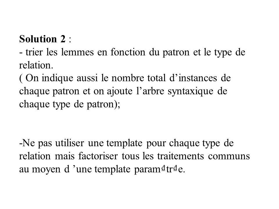 Solution 2 : - trier les lemmes en fonction du patron et le type de relation. ( On indique aussi le nombre total dinstances de chaque patron et on ajo
