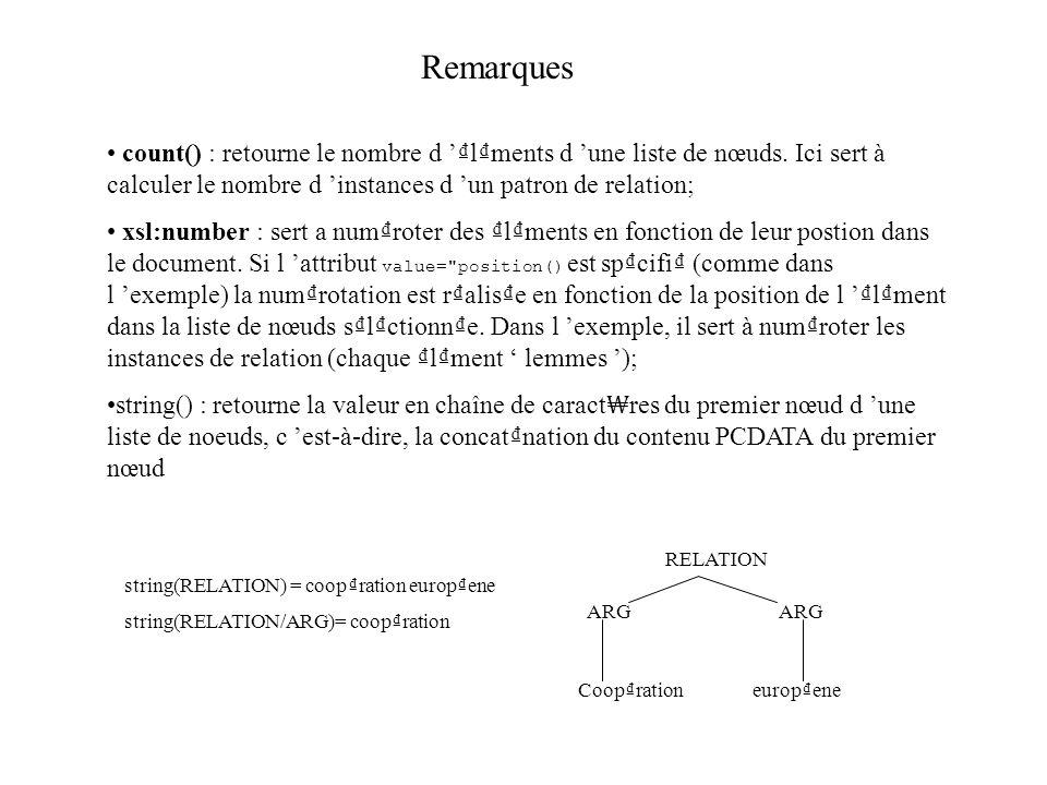 Remarques count() : retourne le nombre d lments d une liste de nœuds. Ici sert à calculer le nombre d instances d un patron de relation; xsl:number :