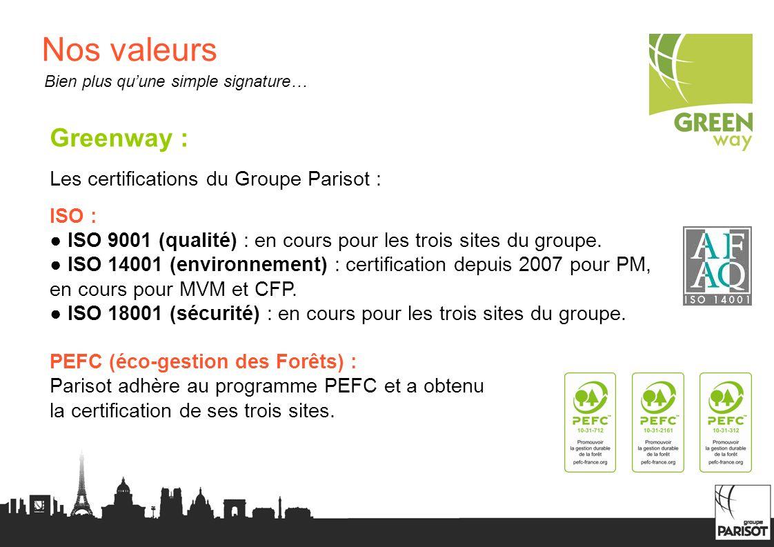 Nos valeurs Greenway : Les certifications du Groupe Parisot : ISO : ISO 9001 (qualité) : en cours pour les trois sites du groupe. ISO 14001 (environne