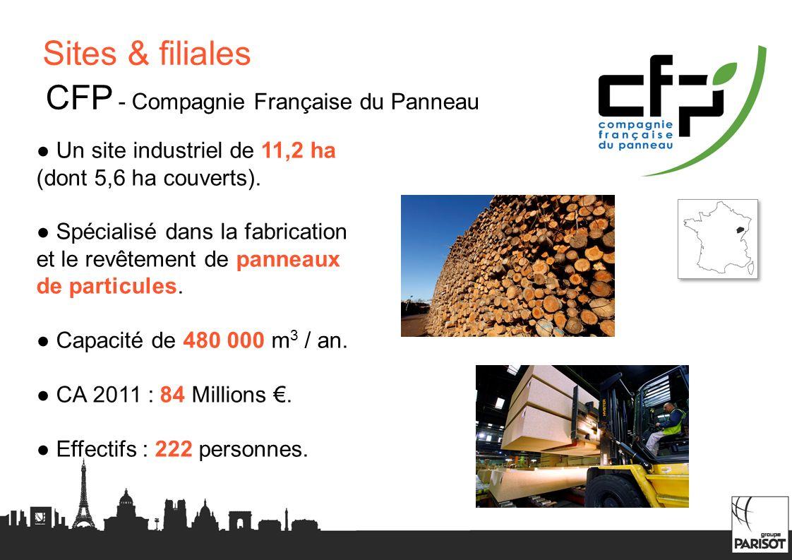 Sites & filiales CFP - Compagnie Française du Panneau Un site industriel de 11,2 ha (dont 5,6 ha couverts). Spécialisé dans la fabrication et le revêt