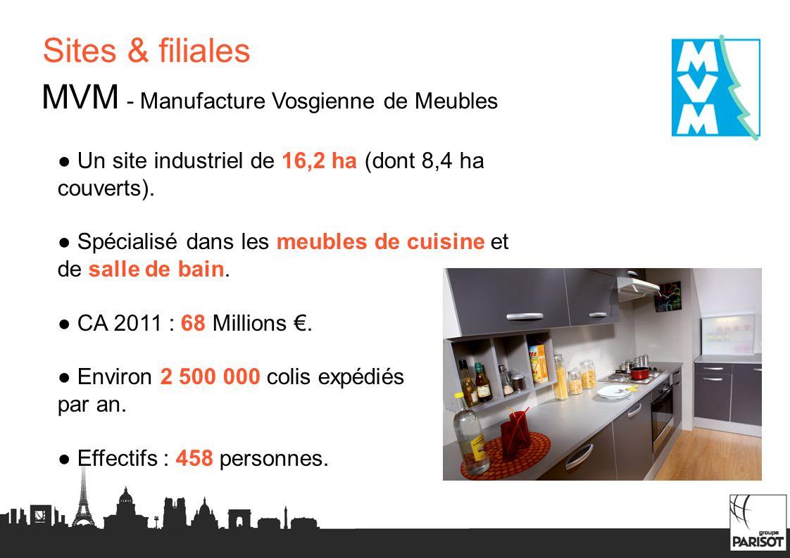 Sites & filiales MVM - Manufacture Vosgienne de Meubles Un site industriel de 16,2 ha (dont 8,4 ha couverts). Spécialisé dans les meubles de cuisine e