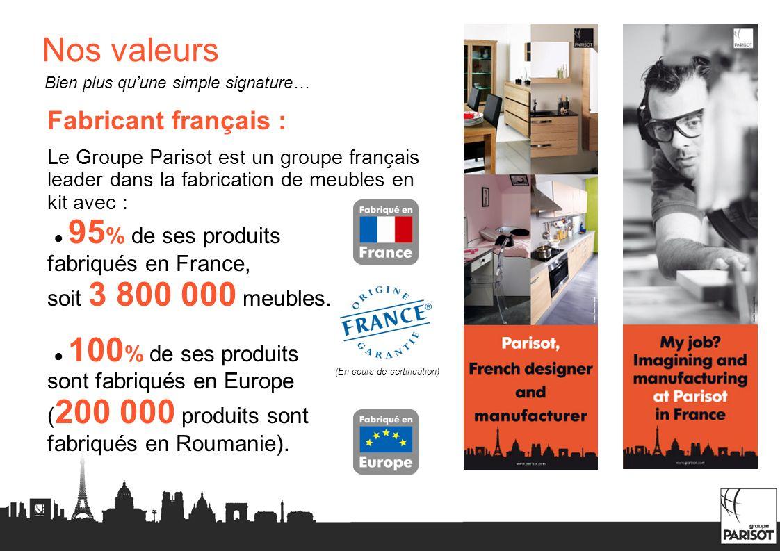 Nos valeurs Fabricant français : Le Groupe Parisot est un groupe français leader dans la fabrication de meubles en kit avec : 95 % de ses produits fab