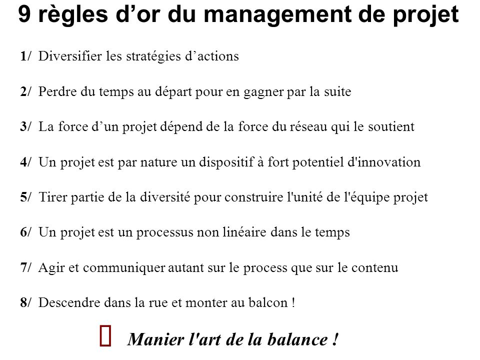 9 règles dor du management de projet 1/ Diversifier les stratégies dactions 2/ Perdre du temps au départ pour en gagner par la suite 3/ La force dun p