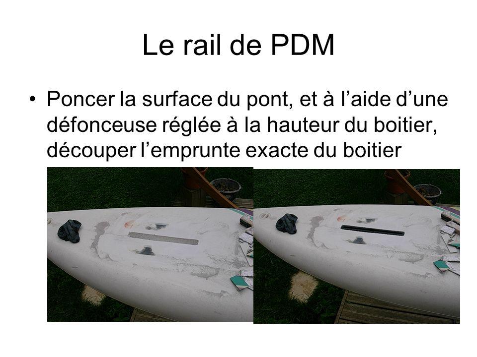 Le rail de PDM Poncer la surface du pont, et à laide dune défonceuse réglée à la hauteur du boitier, découper lemprunte exacte du boitier