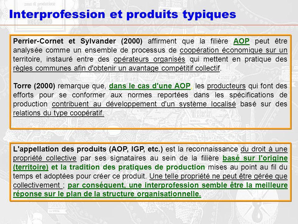 Interprofession et produits typiques Perrier-Cornet et Sylvander (2000) affirment que la filière AOP peut être analysée comme un ensemble de processus