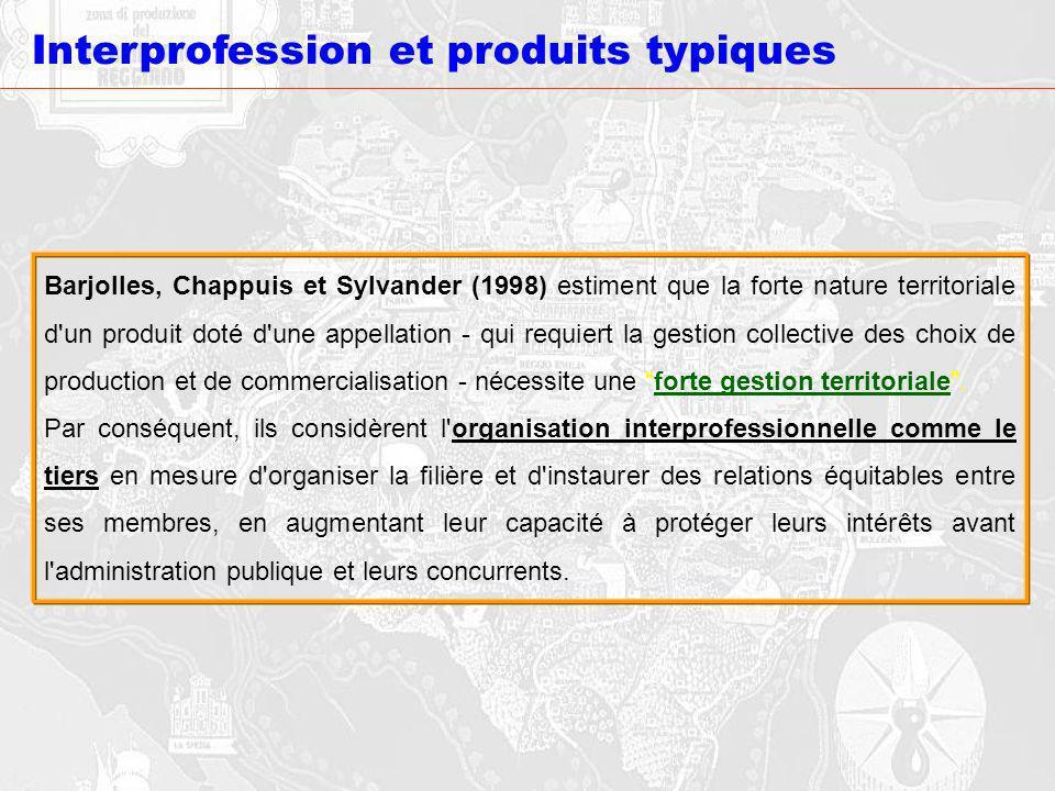 Interprofession et produits typiques Barjolles, Chappuis et Sylvander (1998) estiment que la forte nature territoriale d'un produit doté d'une appella