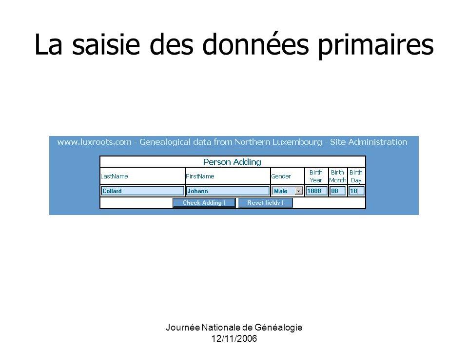 Journée Nationale de Généalogie 12/11/2006 La saisie des données primaires