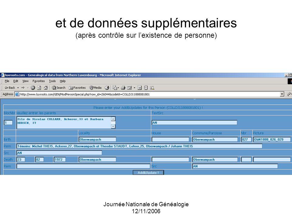 Journée Nationale de Généalogie 12/11/2006 et de données supplémentaires (après contrôle sur lexistence de personne)