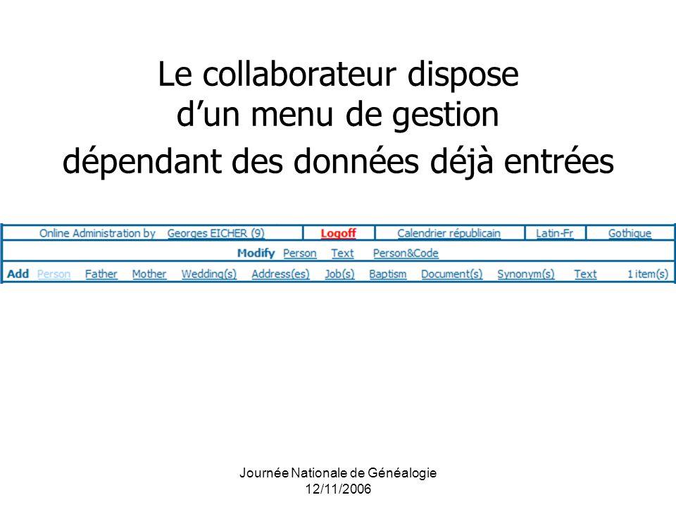 Journée Nationale de Généalogie 12/11/2006 Le collaborateur dispose dun menu de gestion dépendant des données déjà entrées