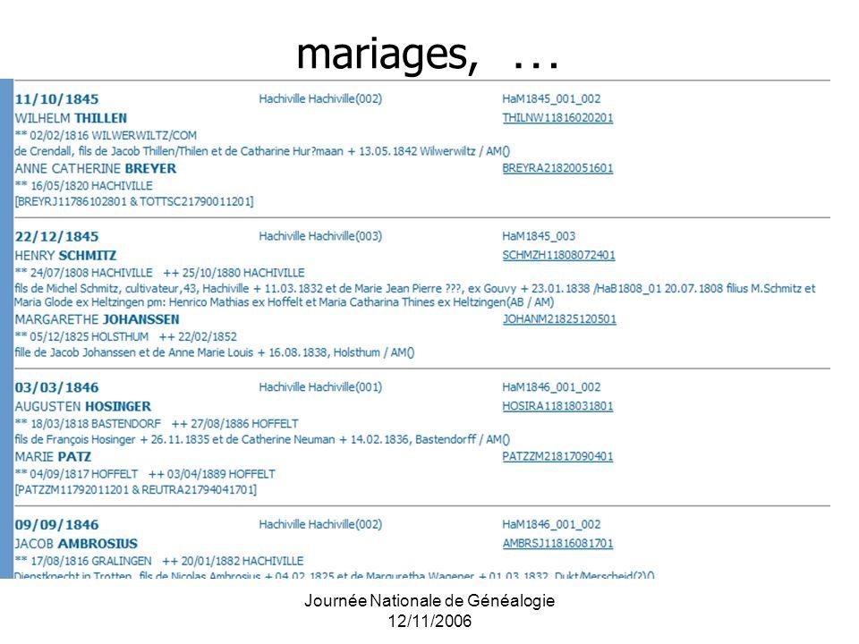 Journée Nationale de Généalogie 12/11/2006 mariages, …