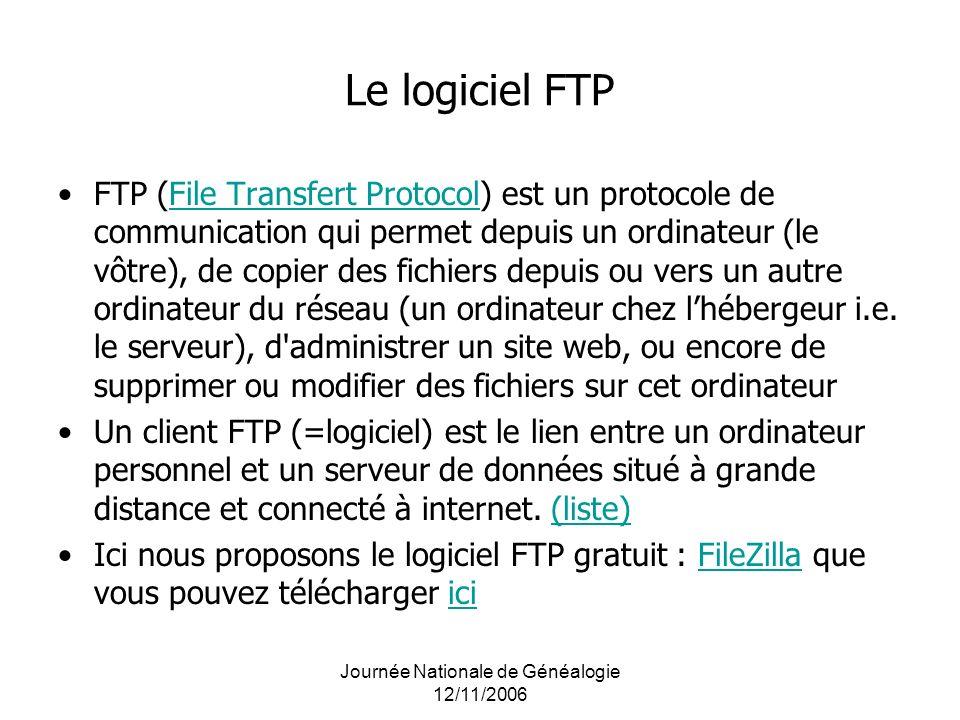 Journée Nationale de Généalogie 12/11/2006 Le logiciel FTP FTP (File Transfert Protocol) est un protocole de communication qui permet depuis un ordina