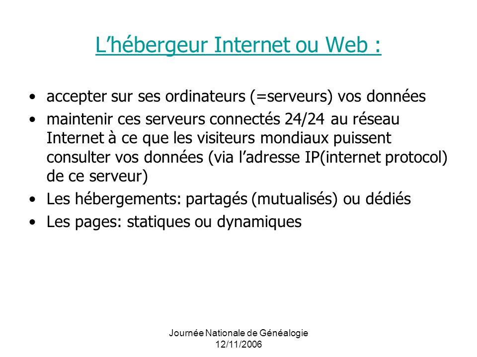 Journée Nationale de Généalogie 12/11/2006 Lhébergeur Internet ou Web : accepter sur ses ordinateurs (=serveurs) vos données maintenir ces serveurs co