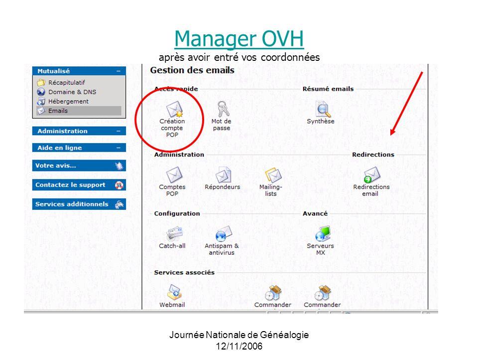 Journée Nationale de Généalogie 12/11/2006 Manager OVH Manager OVH après avoir entré vos coordonnées