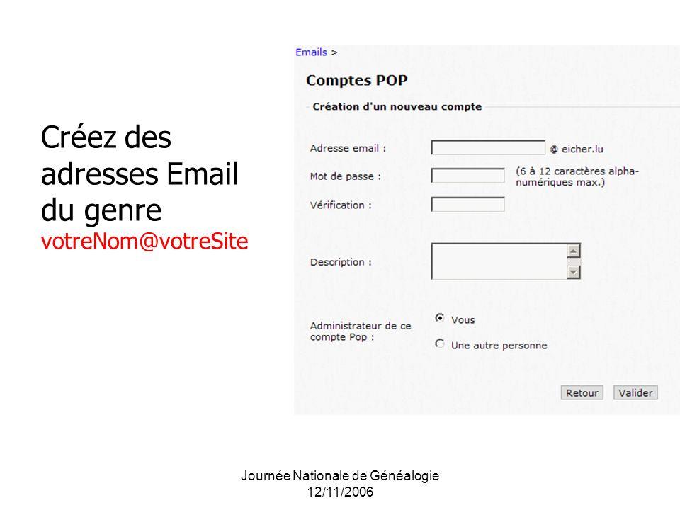Journée Nationale de Généalogie 12/11/2006 Créez des adresses Email du genre votreNom@votreSite
