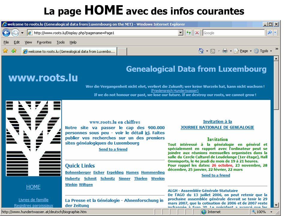 Journée Nationale de Généalogie 12/11/2006 La page HOME avec des infos courantes