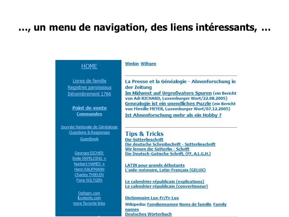 Journée Nationale de Généalogie 12/11/2006 …, un menu de navigation, des liens intéressants, …