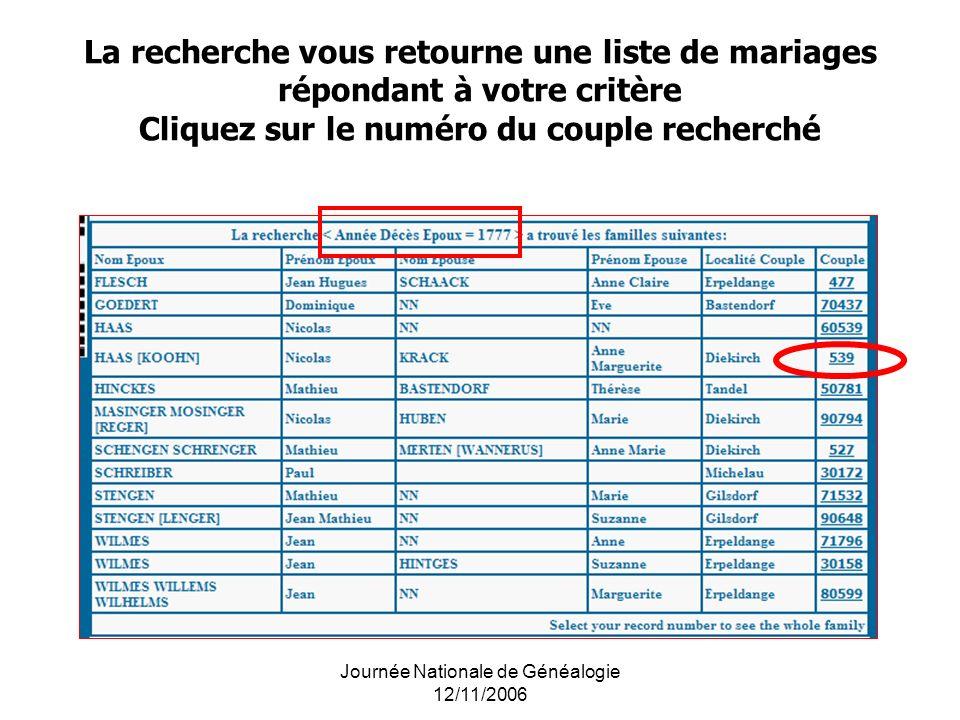 Journée Nationale de Généalogie 12/11/2006 La recherche vous retourne une liste de mariages répondant à votre critère Cliquez sur le numéro du couple