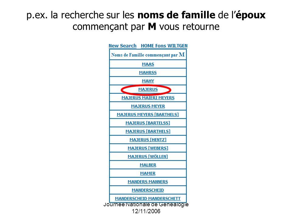 Journée Nationale de Généalogie 12/11/2006 p.ex. la recherche sur les noms de famille de lépoux commençant par M vous retourne