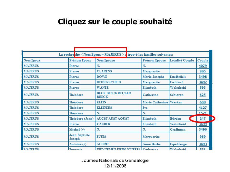 Journée Nationale de Généalogie 12/11/2006 Cliquez sur le couple souhaité