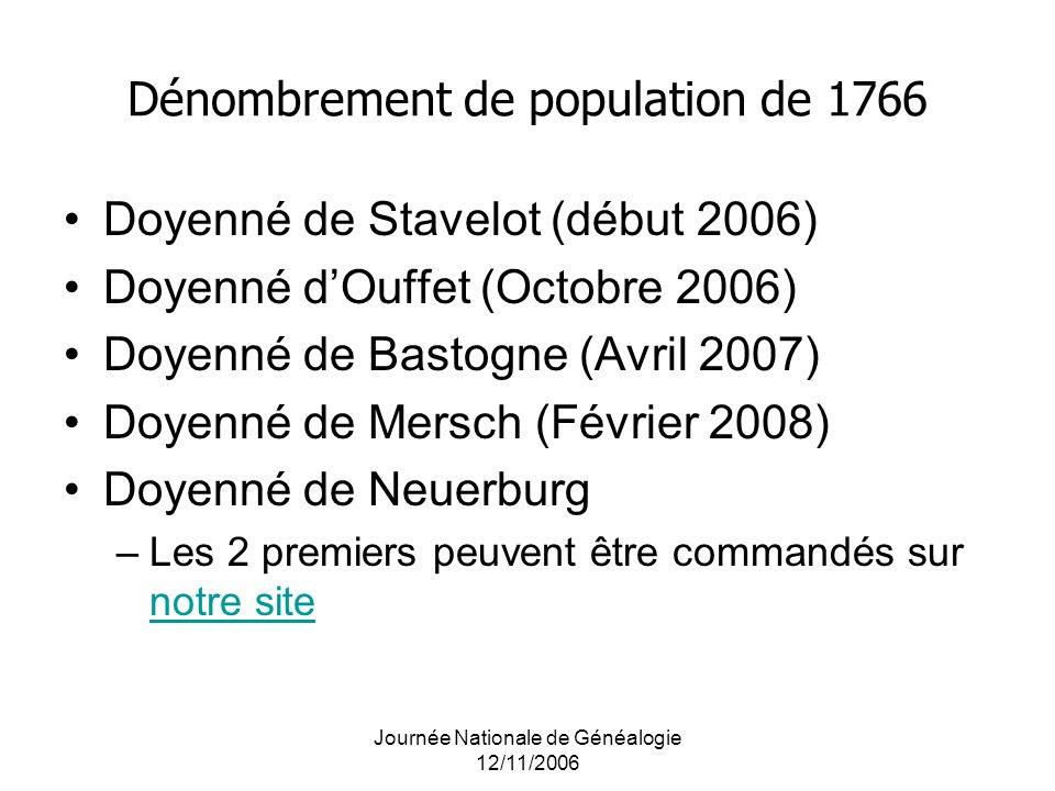 Journée Nationale de Généalogie 12/11/2006 Dénombrement de population de 1766 Doyenné de Stavelot (début 2006) Doyenné dOuffet (Octobre 2006) Doyenné