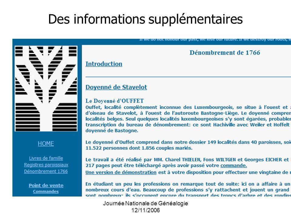 Journée Nationale de Généalogie 12/11/2006 Des informations supplémentaires