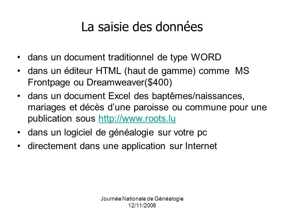 Journée Nationale de Généalogie 12/11/2006 La saisie des données dans un document traditionnel de type WORD dans un éditeur HTML (haut de gamme) comme