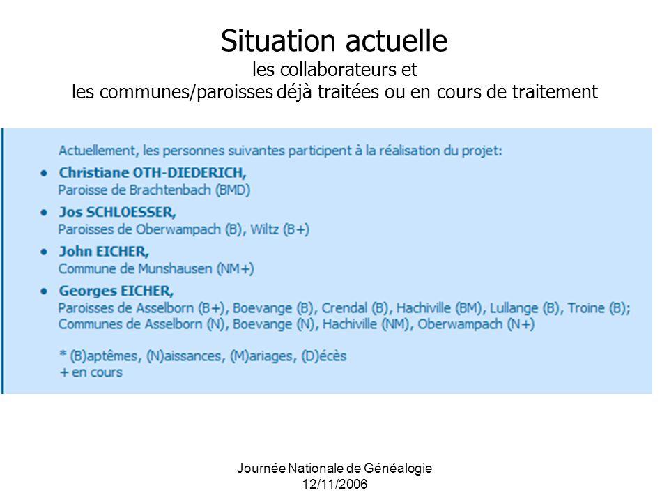Journée Nationale de Généalogie 12/11/2006 Situation actuelle les collaborateurs et les communes/paroisses déjà traitées ou en cours de traitement