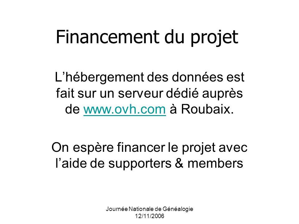 Journée Nationale de Généalogie 12/11/2006 Financement du projet Lhébergement des données est fait sur un serveur dédié auprès de www.ovh.com à Roubai