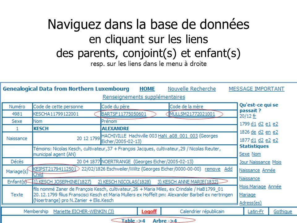 Journée Nationale de Généalogie 12/11/2006 Naviguez dans la base de données en cliquant sur les liens des parents, conjoint(s) et enfant(s) resp. sur