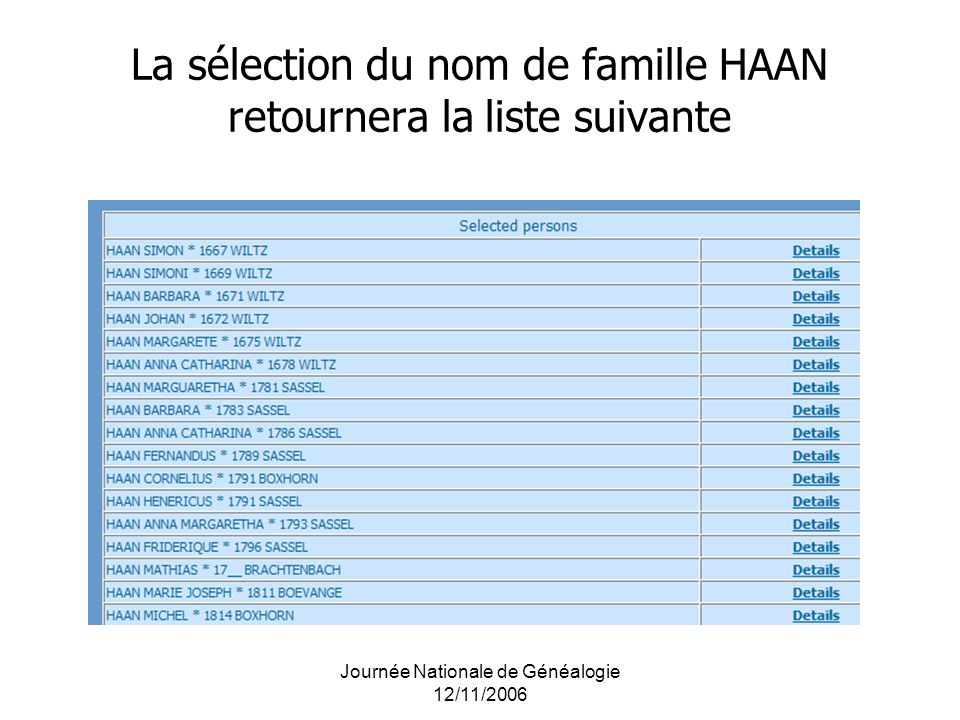 Journée Nationale de Généalogie 12/11/2006 La sélection du nom de famille HAAN retournera la liste suivante