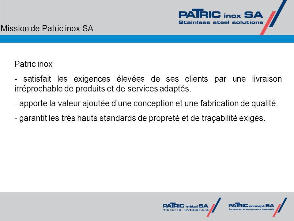 Mission de Patric inox SA Patric inox - satisfait les exigences élevées de ses clients par une livraison irréprochable de produits et de services adap