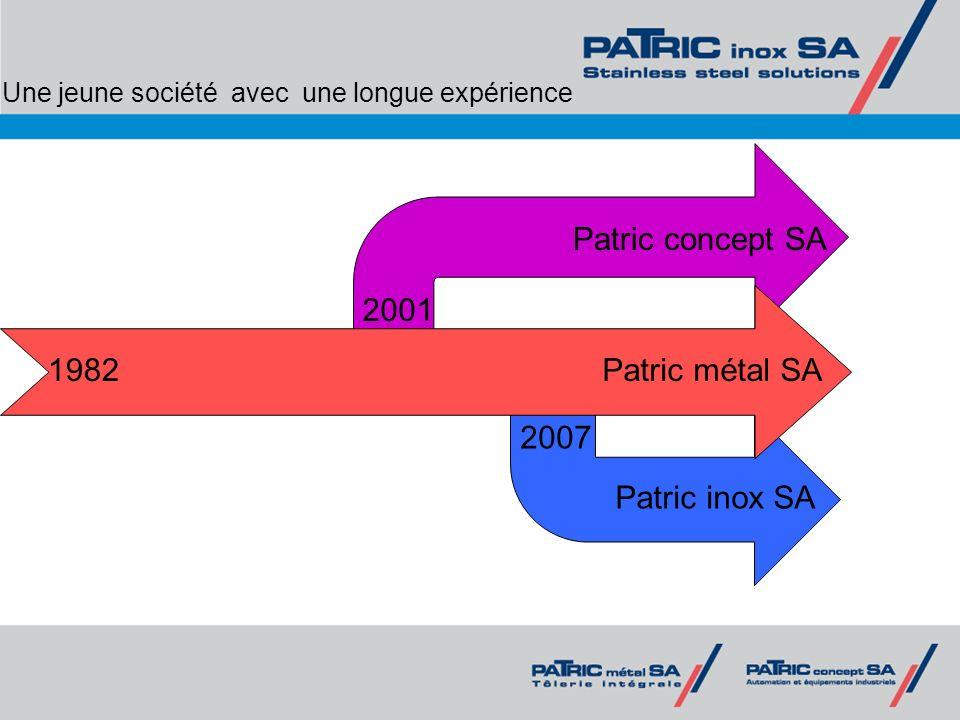 Une jeune société avec une longue expérience 1982 2001 2007 Patric concept SA Patric métal SA Patric inox SA