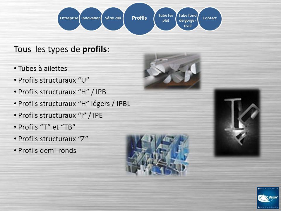 InnovationSérie 200Entreprise Tube fer plat Tube fond de gorge- oval Contact Profils Tous les types de profils: Tubes à ailettes Profils structuraux U