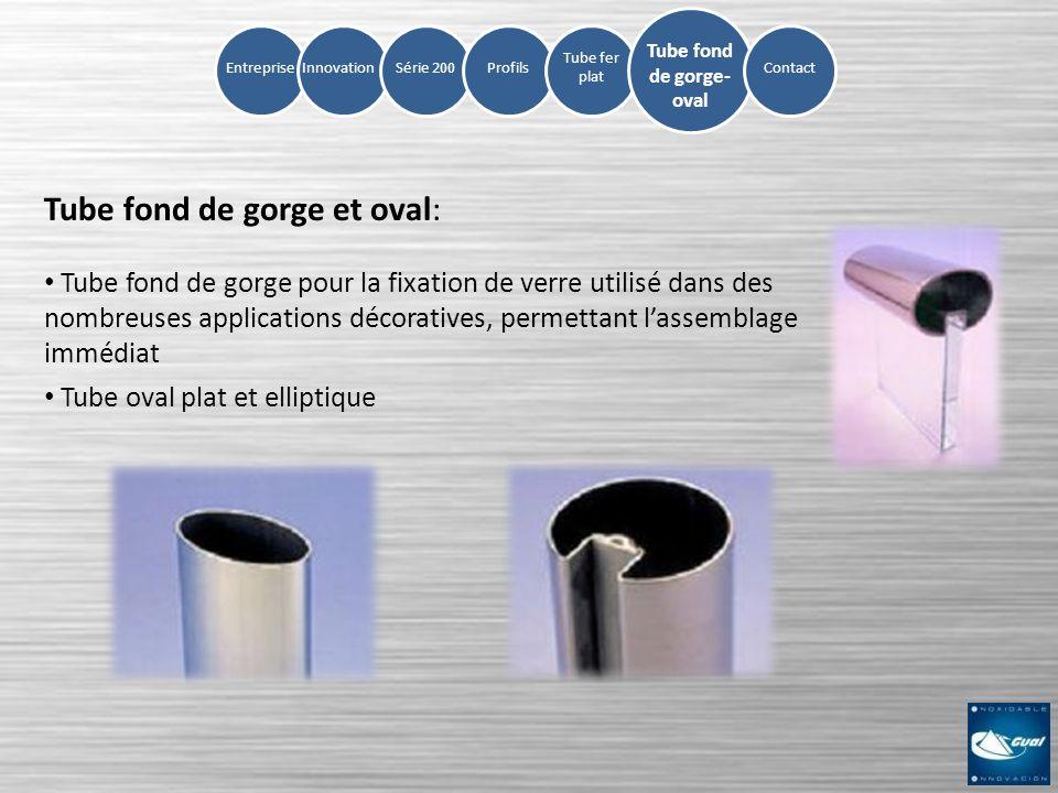 InnovationSérie 200ProfilsEntreprise Tube fer plat Tube fond de gorge et oval: Tube fond de gorge pour la fixation de verre utilisé dans des nombreuse