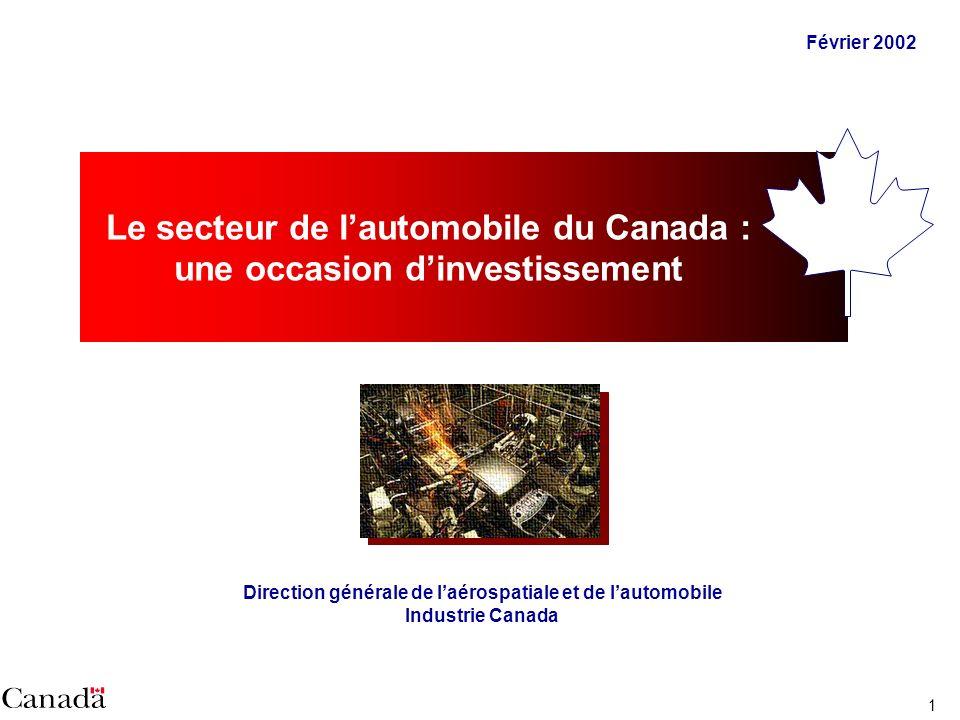 1 Février 2002 Le secteur de lautomobile du Canada : une occasion dinvestissement Direction générale de laérospatiale et de lautomobile Industrie Canada