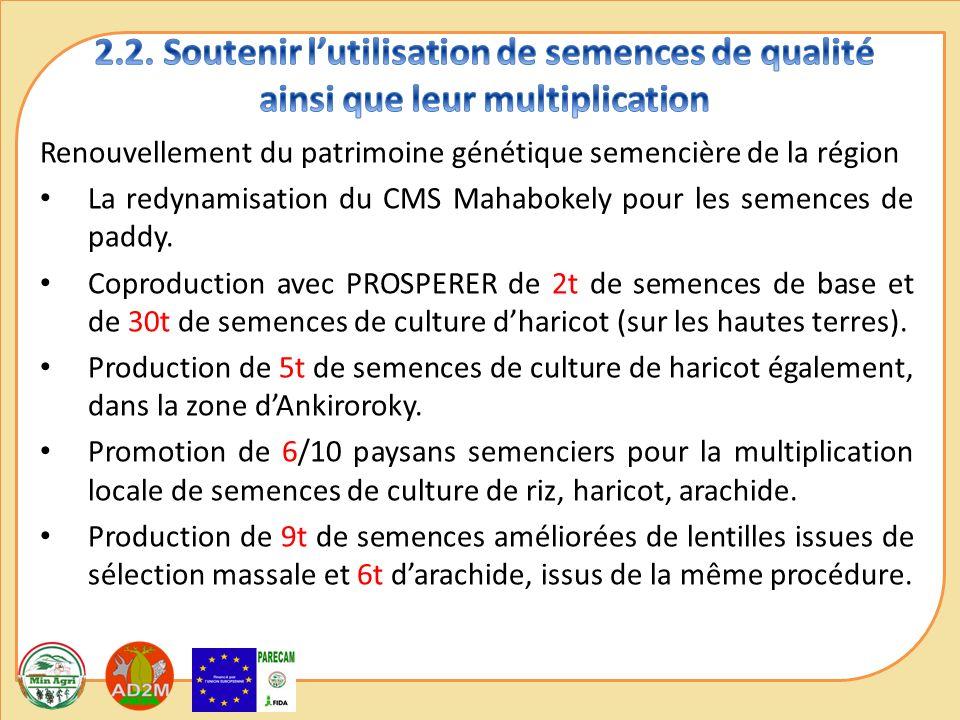 Renouvellement du patrimoine génétique semencière de la région La redynamisation du CMS Mahabokely pour les semences de paddy.