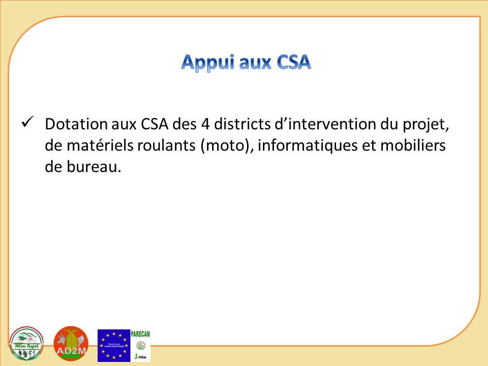 Dotation aux CSA des 4 districts dintervention du projet, de matériels roulants (moto), informatiques et mobiliers de bureau.