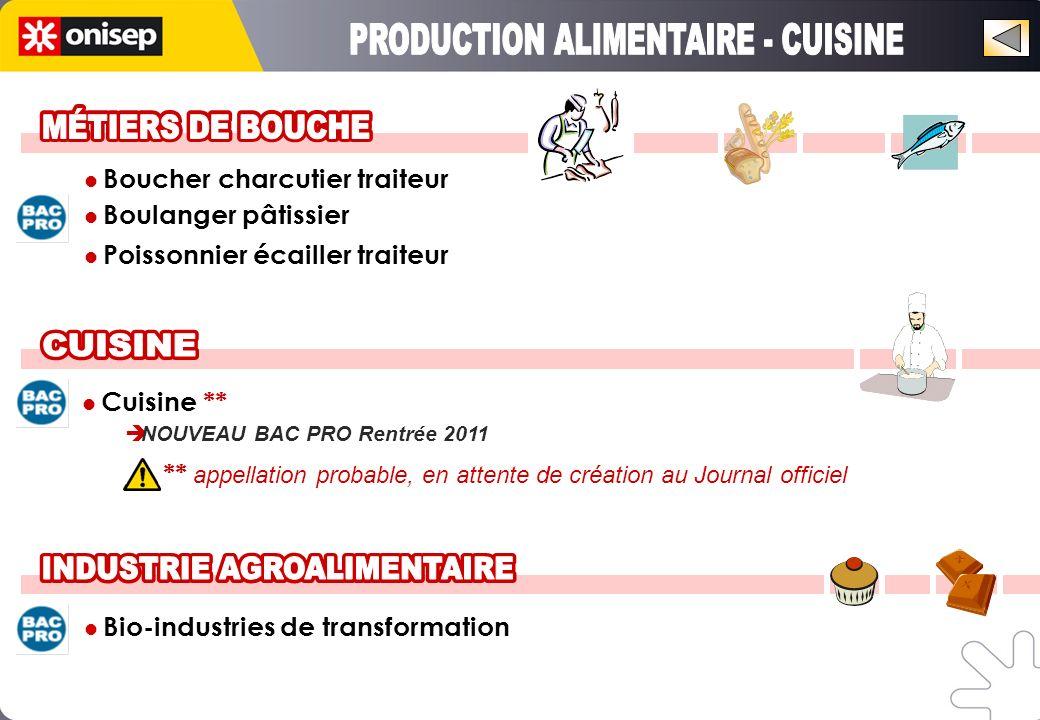 Boucher charcutier traiteur Boulanger pâtissier Poissonnier écailler traiteur Cuisine ** NOUVEAU BAC PRO Rentrée 2011 Bio-industries de transformation