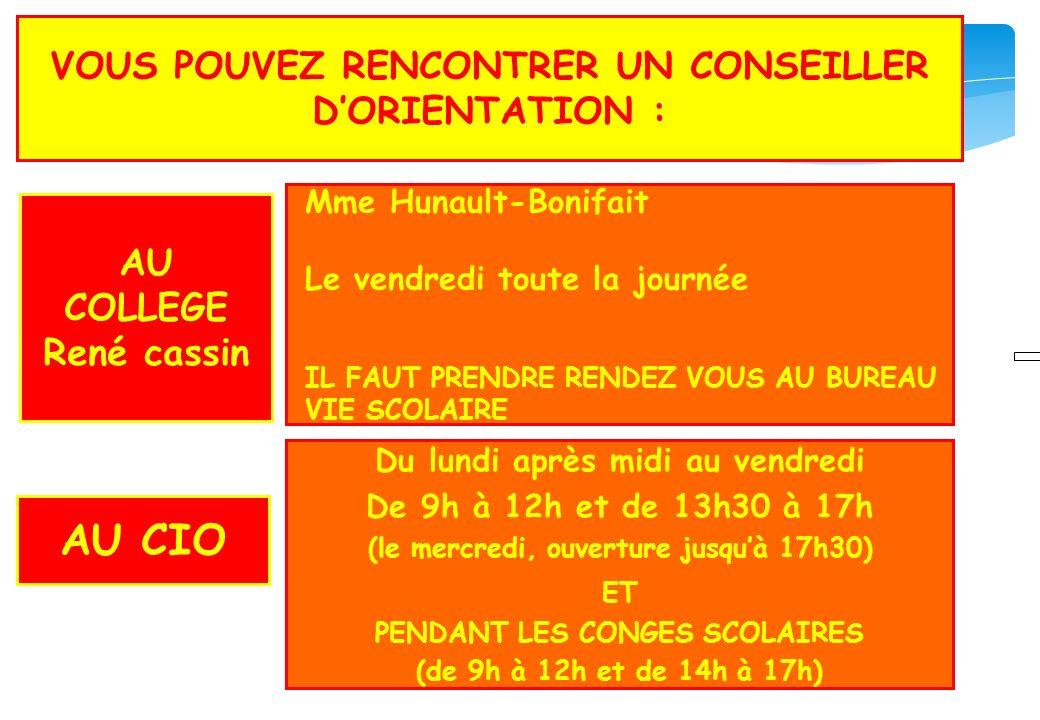COP VOUS POUVEZ RENCONTRER UN CONSEILLER DORIENTATION : Du lundi après midi au vendredi De 9h à 12h et de 13h30 à 17h (le mercredi, ouverture jusquà 1