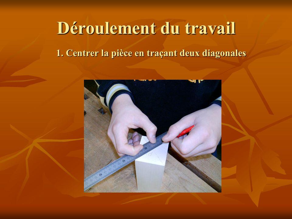Déroulement du travail 1. Centrer la pièce en traçant deux diagonales